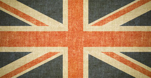 British flag background on old canvas texture. British flag on old canvas texture stock image