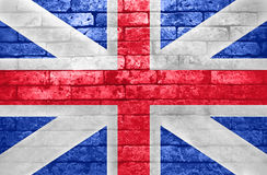 British Flag on Brick wall. British Flag, Old Brick Textured. Brick wall royalty free stock photo