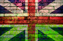 British Flag on Brick wall. British Flag, Old Brick Textured. Brick wall Royalty Free Stock Photography