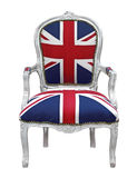 United Kingdom chair. Vintage chair with british flag decoration isolated on white background Royalty Free Stock Images