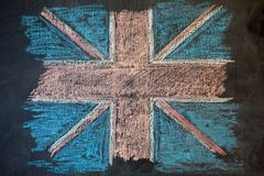 British flag on chalk Board painted by chalk Royalty Free Stock Photos