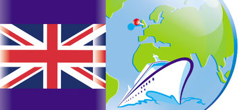 British flag, cruise on a ship. The British flag on the background of the globe, marked Great Britain, cruise liner Royalty Free Stock Photography