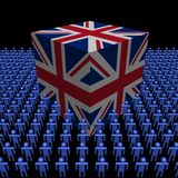 British flag cube with people Stock Photos