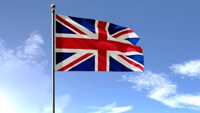 British Flag, England flag, United Kingdom Flag 3D animation. With green screen and sky background,Beautiful waving, FullHD stock video footage