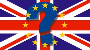 British flag with big question mark and EU stars on top - Brexit concept - UK and England economy after Brexit vector illustration