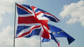 British Flag and European Union flag. Outdoors stock video footage