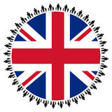 British flag with families Royalty Free Stock Photos