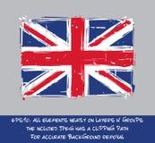 British Flag Flat - Artistic Brush Strokes and Splashes Royalty Free Stock Photos