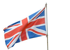 British Flag. Flying on a white background Royalty Free Stock Photo