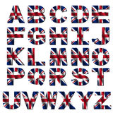 British flag font. Isolated on white illustration