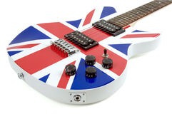 British Flag Guitar. Electric guitar with a British Flag on a white background royalty free stock image