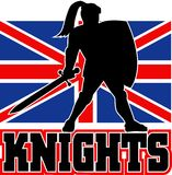 British flag Knight sword shield Stock Images