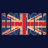 British flag and `London` typography. Graphic vector design Royalty Free Stock Photography