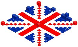 British flag made of cubes, illustration Stock Photo