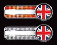 British flag on orange and silver checkered banner Royalty Free Stock Image