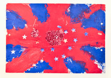British flag painting. Child's painting of the british flag with stars and glitter Royalty Free Stock Images