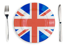 British flag  plate, fork and knife isolated. British flag  plate, fork and knife top view isolated Stock Images