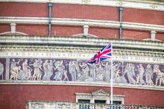 British flag on Royal Albert Hall background. London,  UK Royalty Free Stock Photo