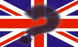 British flag with shadow of a question mark on top - Brexit concept - UK and England economy after Brexit vector illustration