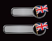 British flag on silver checkered banners Royalty Free Stock Image