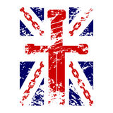 British flag t shirt typography chain sword Royalty Free Stock Images
