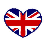 British flag t shirt typography graphics heart Stock Photography