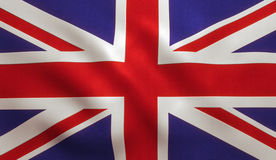 British Flag UK. UK British flag background with cloth texture royalty free stock image