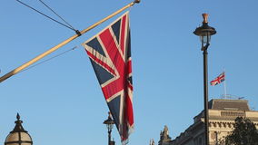 British Flag. Union Jack British Flag at Pole in London stock footage