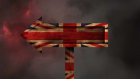 British Flag Video. British Flag on wooden arrow against animated thunder background stock video footage