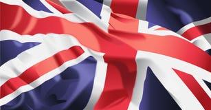 British Flag waving. Waving flag of United kingdom background Stock Photo