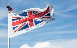 The british flag. Waving in the wind Stock Images