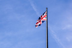 The British flag waving in the wind.  Stock Images