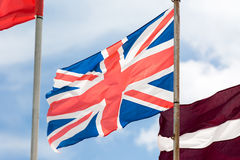 British flag waving on the wind Stock Photography