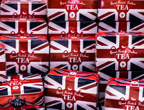 British flagged tea boxes. A full lot of union jack british flags Stock Image