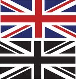 British Flags. Black and White Britsh Flag and normal British flag Stock Photos
