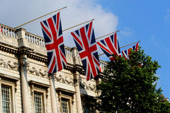 British Flags. The British flags flying at Parliament Stock Photography