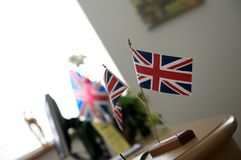 British flags on desk Royalty Free Stock Image