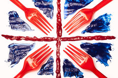 British Food. Union Forks, Abstract food Union Jack Flag Royalty Free Stock Photo