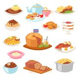 British food vector english breakfast meal and fried meat with potato for dinner or lunch illustration set of. Traditional dishes in restaurant in Britain Royalty Free Stock Images