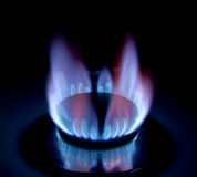 British Gas. Close-up of a lit gas stove/cooker Stock Images