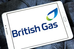 British gas logo. Logo of energy and home services company british gas on samsung tablet stock image