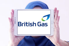 British gas logo. Logo of energy and home services company british gas on samsung tablet holded by arab muslim woman royalty free stock photo