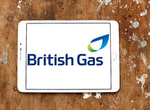 British gas logo. Logo of energy and home services company british gas on samsung tablet on wooden background stock photos
