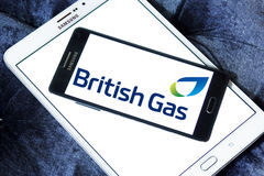 British gas logo. Logo of UK energy and home services company british gas on samsung mobile phone a5 stock image