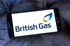 British gas logo. Logo of UK energy and home services company british gas on samsung mobile phone a5 royalty free stock image