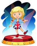 British girl on stage Royalty Free Stock Image