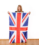 British girl with the Union Jack flag Royalty Free Stock Image