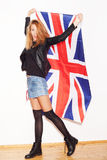 British girl with the Union Jack flag Royalty Free Stock Images