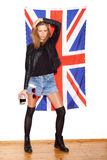 British girl with the Union Jack flag Royalty Free Stock Photos