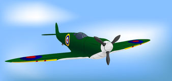 British Green RAF WW2 Spitfire. Vector Illustration Stock Photography